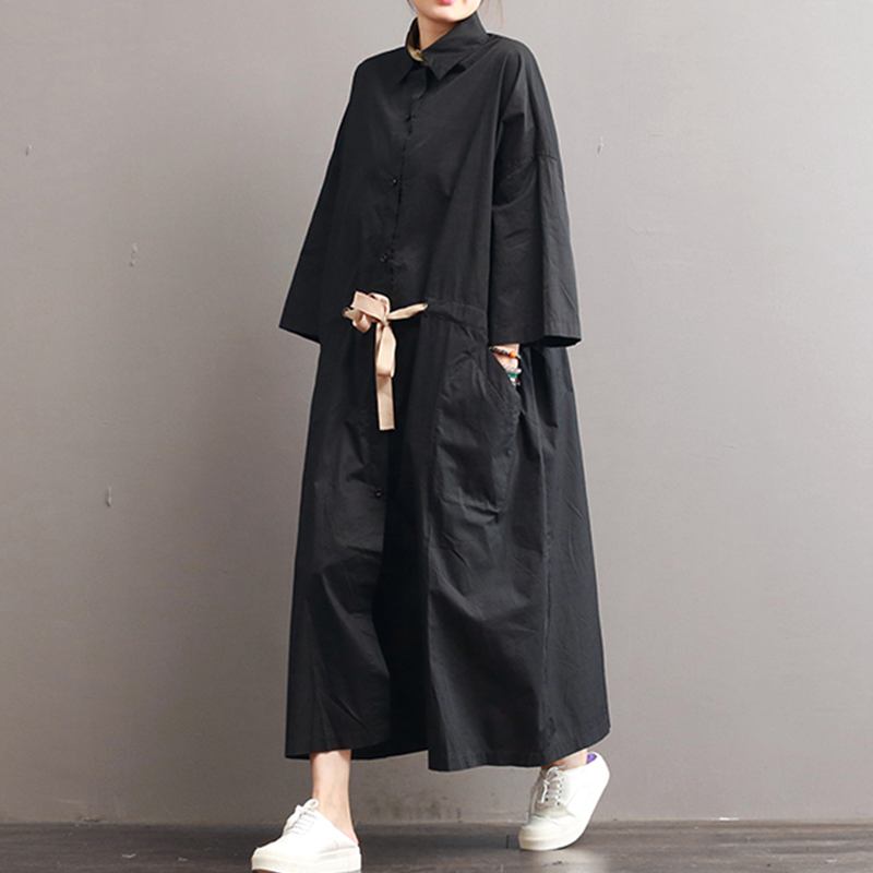Plus Size Women Maxi Dress Cotton Long Sleeve Turn-down Collar Button Women Loose Dresses Oversized Casual Belt Female Dress