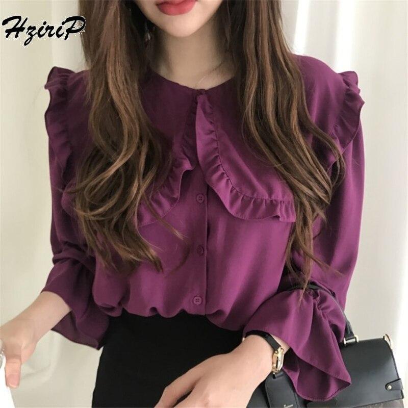 Hzirip Women Blouses 2018 Autumn Fashion Casual  Peter Pan Collar Solid Shirt Long Sleeve Women Ruffles Tops Shirts Blusas Mujer