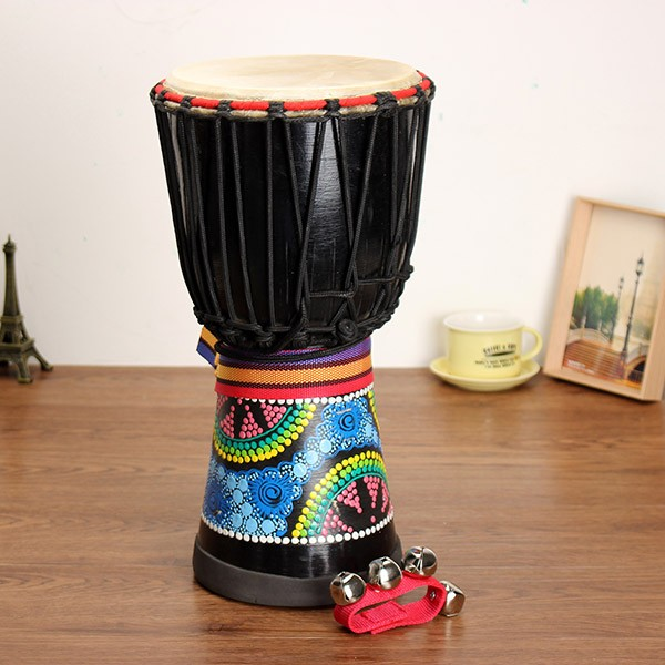 8inch African Hand Drum Mahogany Djembe Painted Jambe Drummer With Hand Bell children early education drum music educational instrument combination 5 joy woolly waist drum hand bell trumpet baby