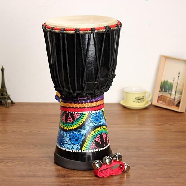 Batteur de Jambe peint de djembé d'acajou de tambour de main africaine de 8 pouces avec la cloche de main