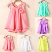2017 Girls Infant Cotton Clothing Dresses Cool Summer Solid O-Neck Clothes Embroidery Girls Dresses