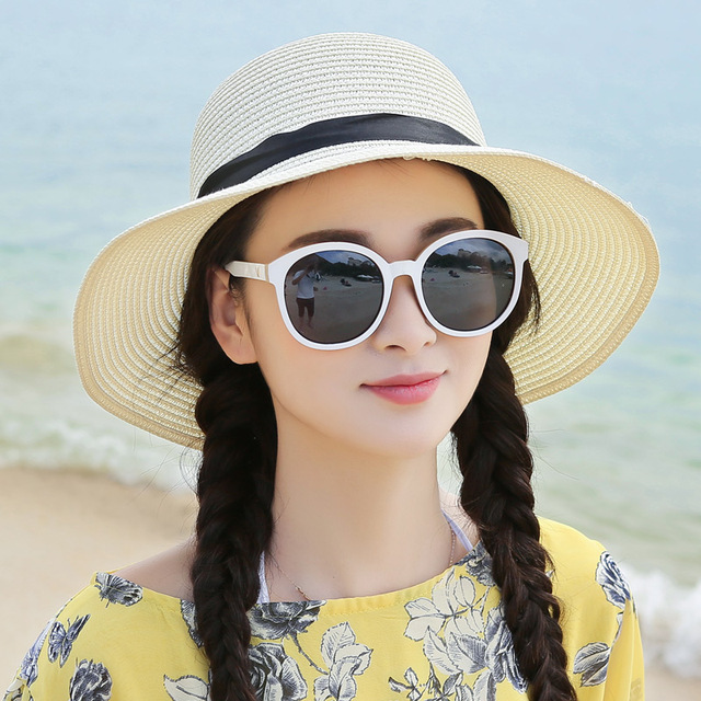 Women S Beach Hats Cap 2016 Summer New Foldable Floppy Hats Ladies  Sombreros Bowknot Straw Hat For d65d7cba681