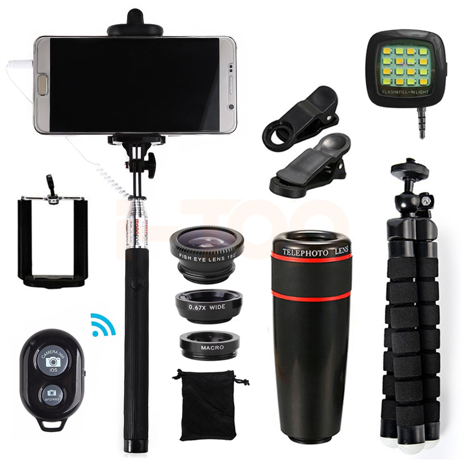 bilder für Alle in 1 8x Zoom Teleobjektiv Fisheye Weitwinkel Makro Lentes Für iPhone 8 7 6 5 4 S Plus Handy Linsen-weitwinkel Stativ Clips