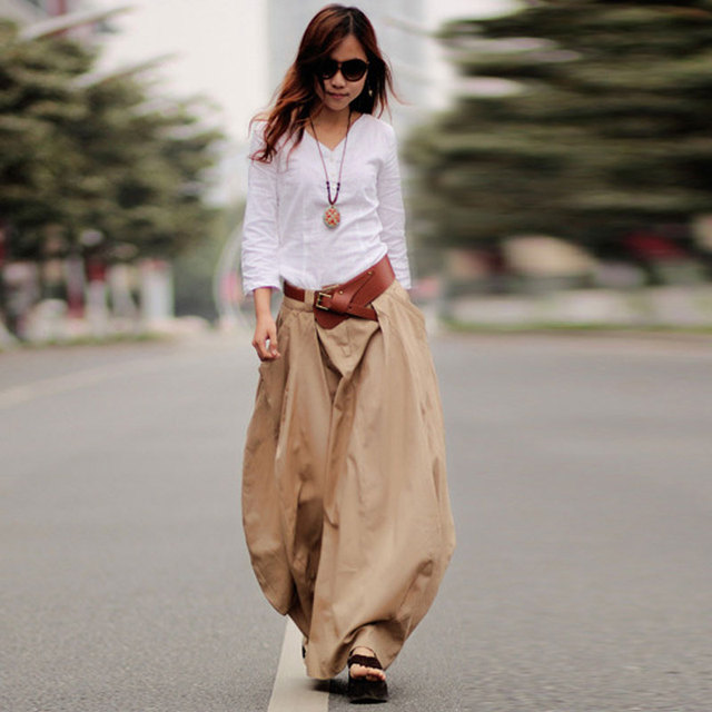 1491bdaf949 2018 Spring Autumn long Linen skirts women s casual pockets maxi skirt plus  size solid color cotton linen bud skirts