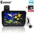 Eyoyo 20 m buscador de los pescados profesional dvr grabar video 6 led infrarrojo cámara pesca submarina + sobre el agua de la cámara + free tarjeta de 32 gb tf