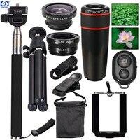 Telescopio de la Lente de la cámara Kit de Viaje 10in1 kit ojo de pez macro len Para el iphone samsunggalaxy HTC XIAOMI HUAWEI smartphone envío gratis