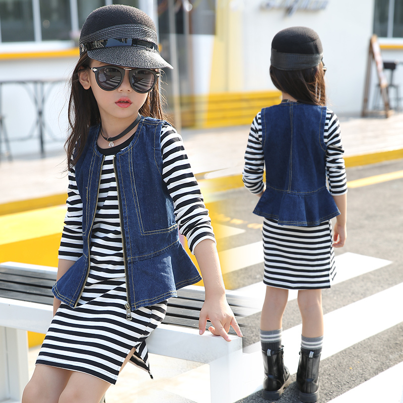 Children Clothing Set Girls Striped Dress Waistcoat 2Pcs Sexy Girls Denim Vest Long Sleeve Black White Striped Dresses 2 Pcs Set raglan sleeve striped ringer dress