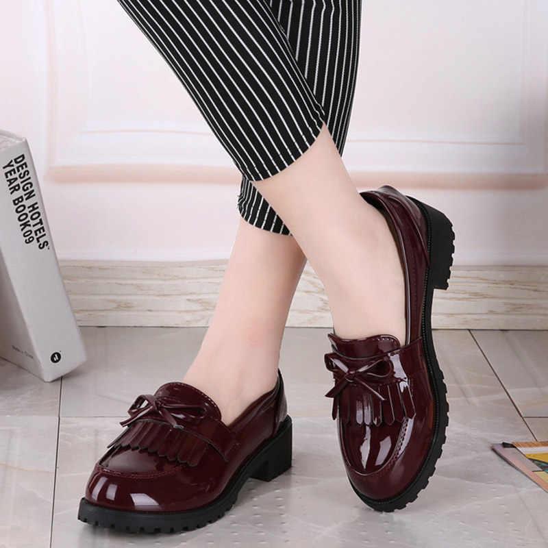 d80e35c9e48 Women Bowtie Tassel Platform Derby Shoes Ladies Flat Oxfords Autumn Patent  Leather Slip On Female Comfort