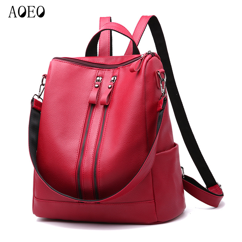 AOEO women backpack Double zipper Strap Suitable for Travel Waterproof school bags girls PU Leather Bags backpacks woman Female zipper front pu backpack with convertible strap