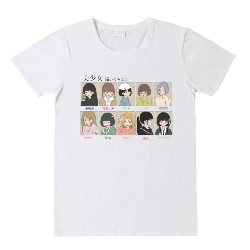 NiceMix 2019 Summer Harajuku T Shirt Women Cotton Tops Print Cartoon Girl Kawaii Short Sleeve Loose Tee pretty girl Shirt Femme