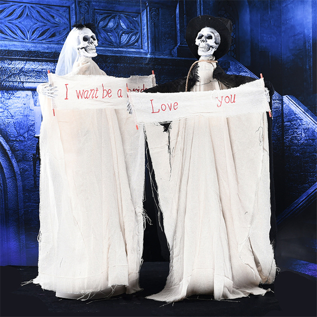 Bride And Groom Couple White Horror Halloween Ghost Electric Scream Sound Scary Halloween Ghost Bar Club Halloween Creepy Ghost