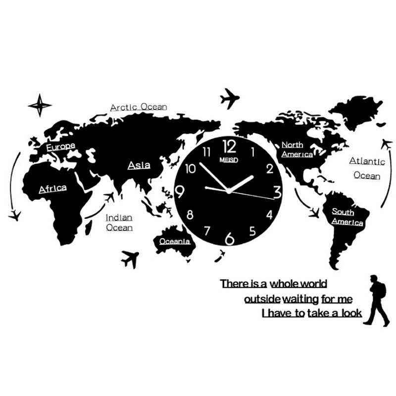 New Creative DIY 3D World Map Shape Personality Wall Clock Home Needle Digital Quartz Wall Watch Fashion Decoration Clock Family