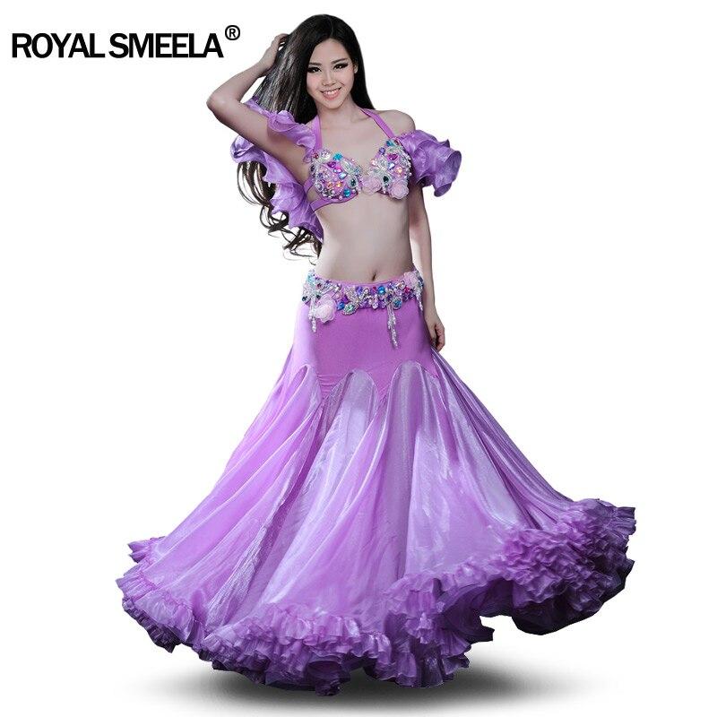 Super Sexy Terno de dança Do Ventre Profissional Vestido de Dança Do Ventre Desgaste Traje Desempenho saia Grande Expansão Completa: BRA & Skirt & braço