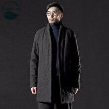 LinenAll original mens 100% cotton jacket men winter Chinese style black cotton men long thick parkas coat