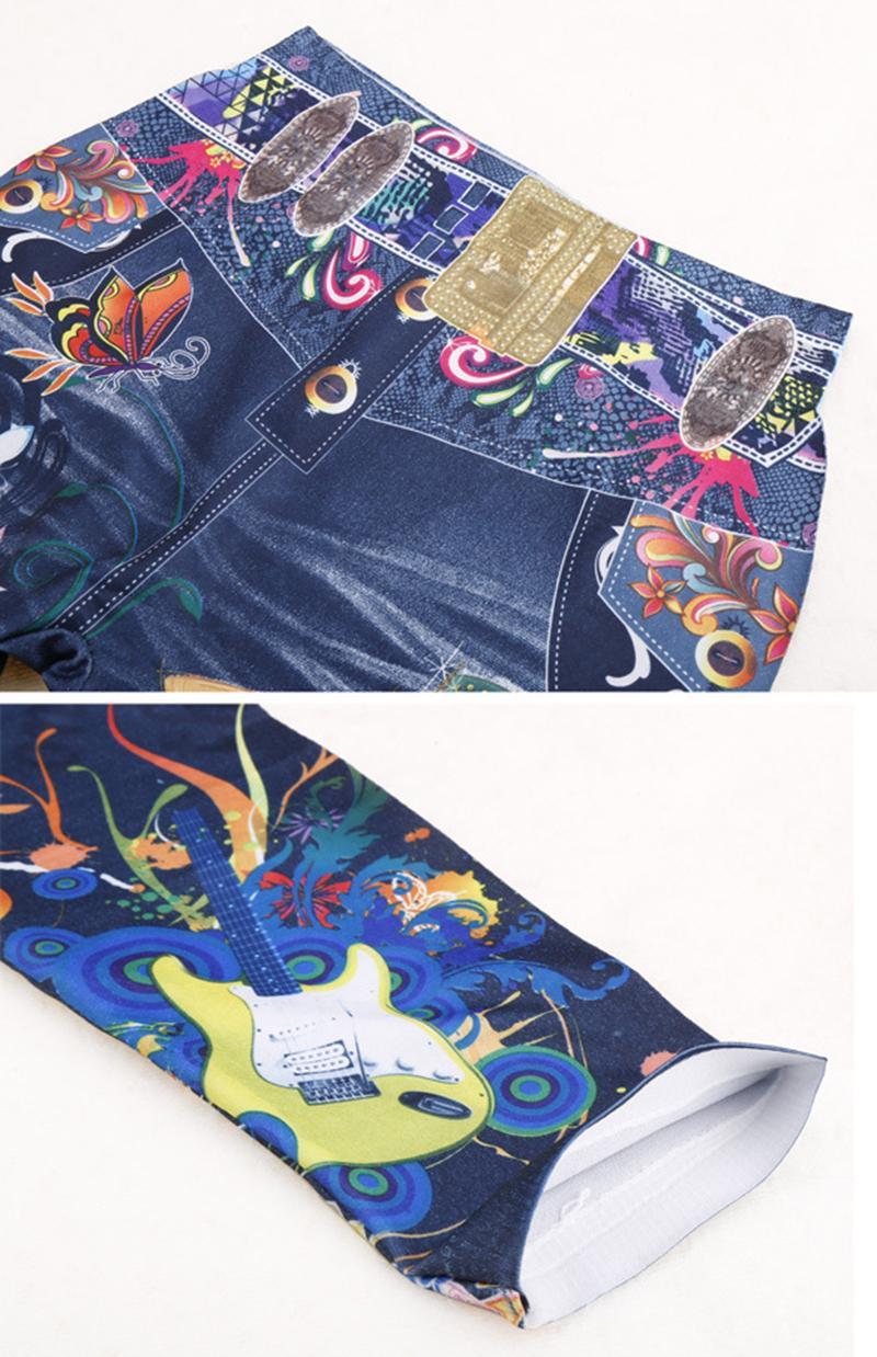 Elastic Ankle-length Slim Punk Style Faux Denim Pencil Pants Sexy