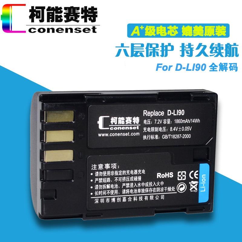 DLI90 D-LI90 Batterie pour Pentax 645D 645Z K-01 K-1 K-3 II K-5 II K-5 IIs K-7 K01 K3 K5 K7 Caméra D-LI90 Batterie De Remplacement
