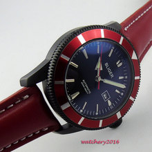 46mm Bliger Black Dial PVD Red Bezel Date 2018 Top Brand Fashion Luminous Hands Automatic Mechanical Men's Watch