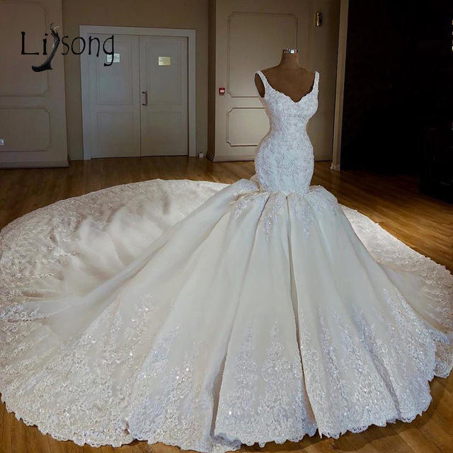 Luxury Abiye Mermaid Wedding Dresses Lace Bridal Gowns With Long Watteau Train Beaded Crystal Dubai Wedding Dress Casamento