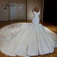 Luxury Abiye Mermaid Wedding Dresses Lace Bridal Gowns With Long Watteau Train Beaded Crystal Dubai Wedding Dress Casamento