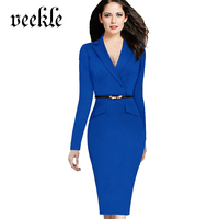 VEEKLE Suit Style Office Dress Faux Jacket Turn Down Notched Collar Long Sleeve Belted Formal Women