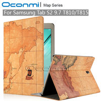 Map PU Leather Cover Case For Samsung Galaxy S2 9 7 Inch With Credit Card Slots