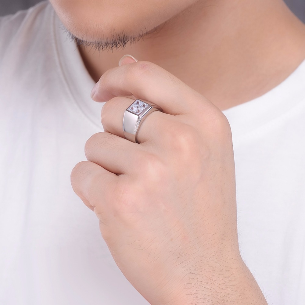 Father\'s day ring 925 Sterling Silver men rings princess cut square ...