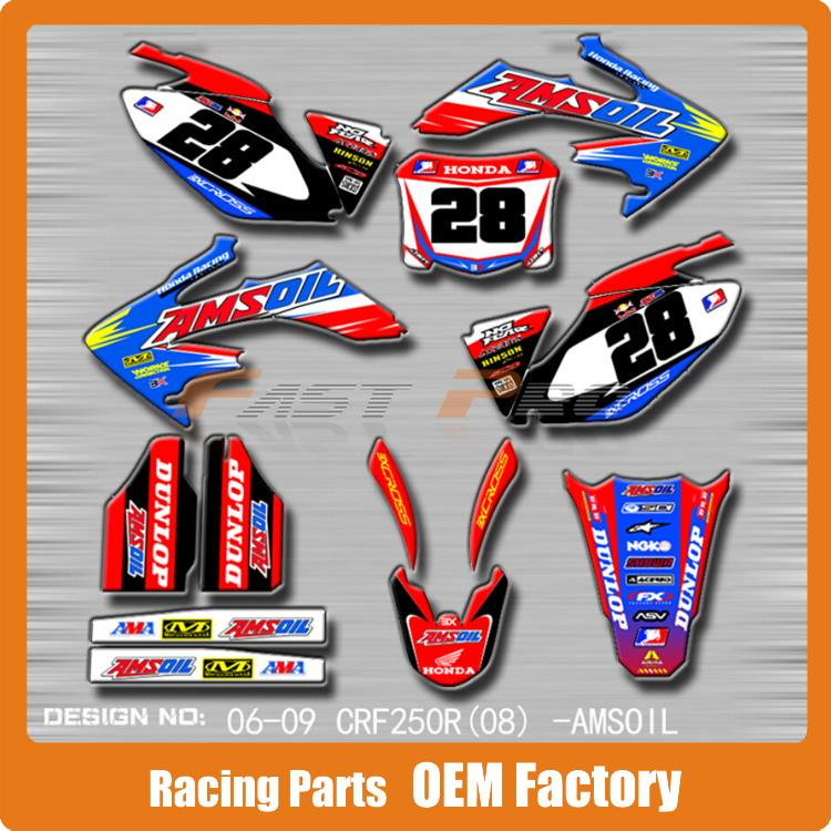 Customized Team Graphics & Backgrounds Decals 3M Stickers AMS Oil CRF CRF250R CRF250 06-09 Motocross Enduro Supermoto