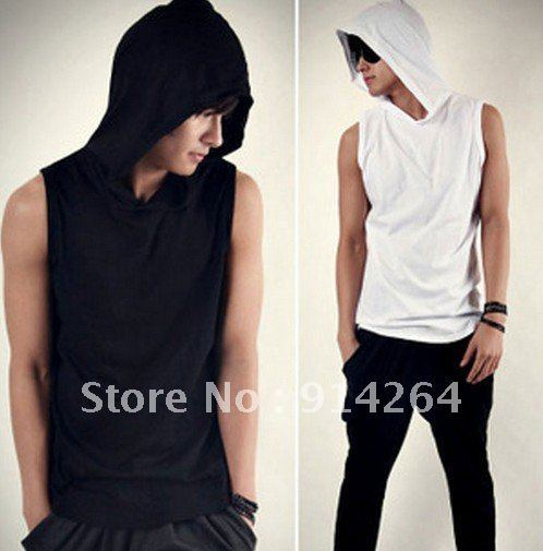 Mens Beach Slim Casual Sleeveless Hoody Hoodies Sweats Shirts Tee Tops M L    / free shipping
