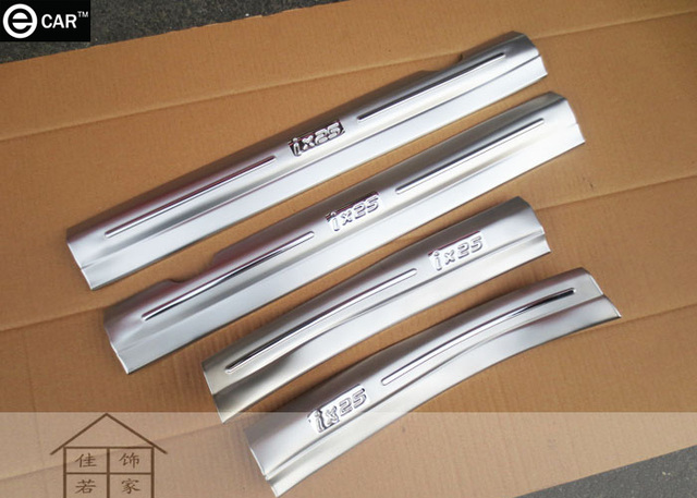 inner door sill strip for 2015 Hyundai ix25 built-in stainless steel Threshold strip interior decoration strip protectors