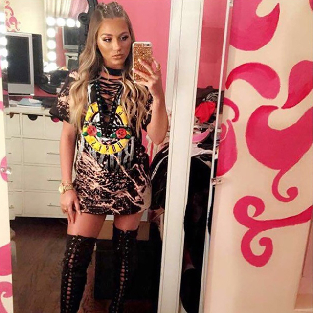 14691801b84f Summer Sexy Women Tie Dye Front Lace V Neck GUNS N ROSES Print Short Sleeve  T Shirt Dress Tee Tshirt Dress Camisetas Mujer