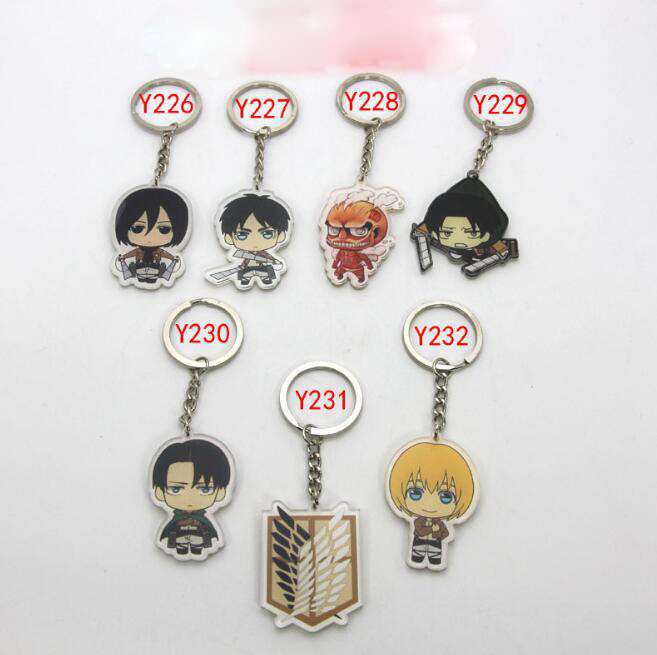 1Pcs/set Cute Attack on Titan Shingeki no Kyojin acrylic Keychain Action Figure Pendant Car Key Accessories Collection