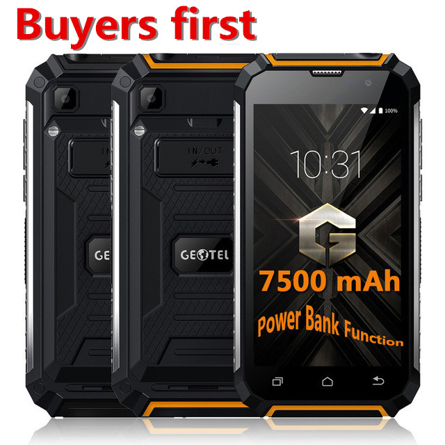 2019 Original Geotel G1 3G de Smartphones Banco de Potência 7500 mAh 16 2 MTK6580A Quad núcleo Andriod 7.0 GB RAM GB ROM 5.0