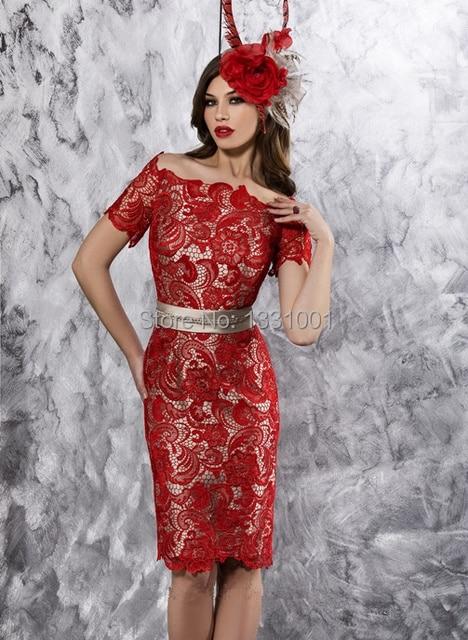 b694be9f5b Festa Vintage Vestido sociais renda mãe da noiva Vestido na altura do  joelho Vestidos De madrinha