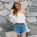 Simplee Ruffled strap chiffon camisa blusa Mulheres tops de culturas off shouder branco blusa oco out blusas verão 2017 chemise femme