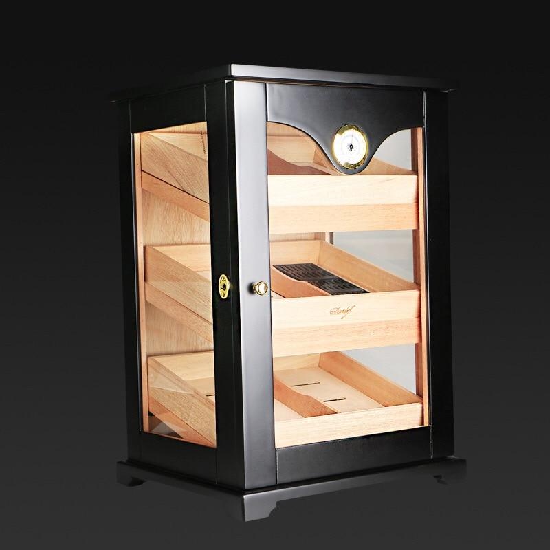 Cabinet nero cigar humidor di alta qualità multipla lacca finitura legno di cedro 3 scatola di immagazzinaggio della cassa di sigaretta accendino Con Igrometro
