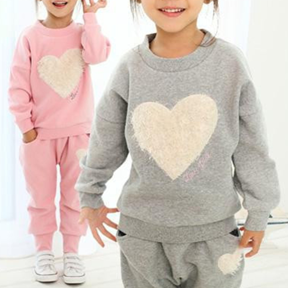 kids girls clothes sets,baby girl long sleeve + pant set Children love kids clothing sets 2016 cute new style B1 fashion brand autumn children girl clothes toddler girl clothing sets cute cat long sleeve tshirt and overalls kid girl clothes