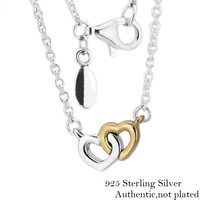 Authentic 925 Sterling Silver United in Love Pendant Necklaces With 14K Real Gold Heart for Women DIY Fine Jewelry PFN025K