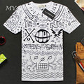Slim Fit New Summer Short Sleeves Cotton tops & tees T Shirt 3d Printed Short Sleeved  Men's T-shirt white