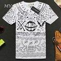 Slim Fit New Verão Mangas Curtas topos & t Camiseta de Algodão 3d Impresso T-shirt dos homens de Manga Curta branco