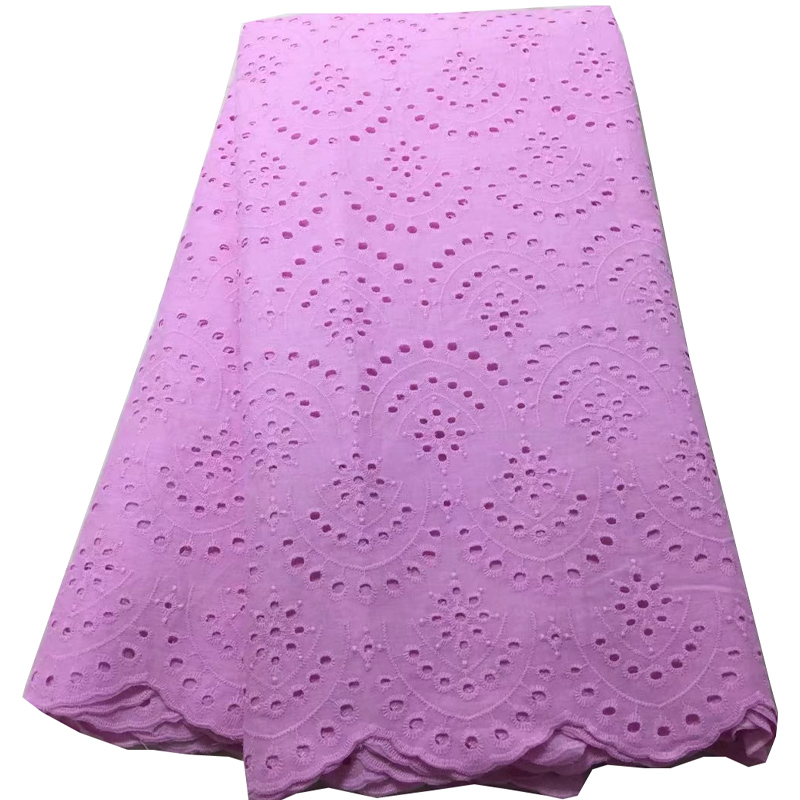 Free shipping (5yards/pc) latest baby pink African lace fabric 100% cotton soft and light for making dress CLS198