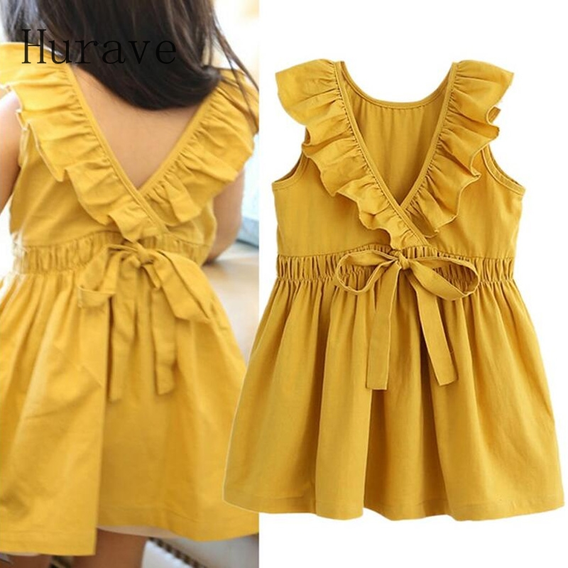 74c0012f80044 US $5.88 30% OFF Hurave Fashion children summer dress girls sleeveless  clothing v neck dresses for girl with bow 2019 new vestidos-in Dresses from  ...