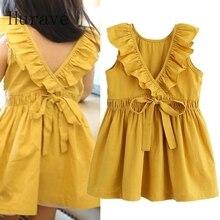 Hurave Fashion children summer dress girls sleeveless clothing v neck dresses for girl with bow 2017 new vestidos