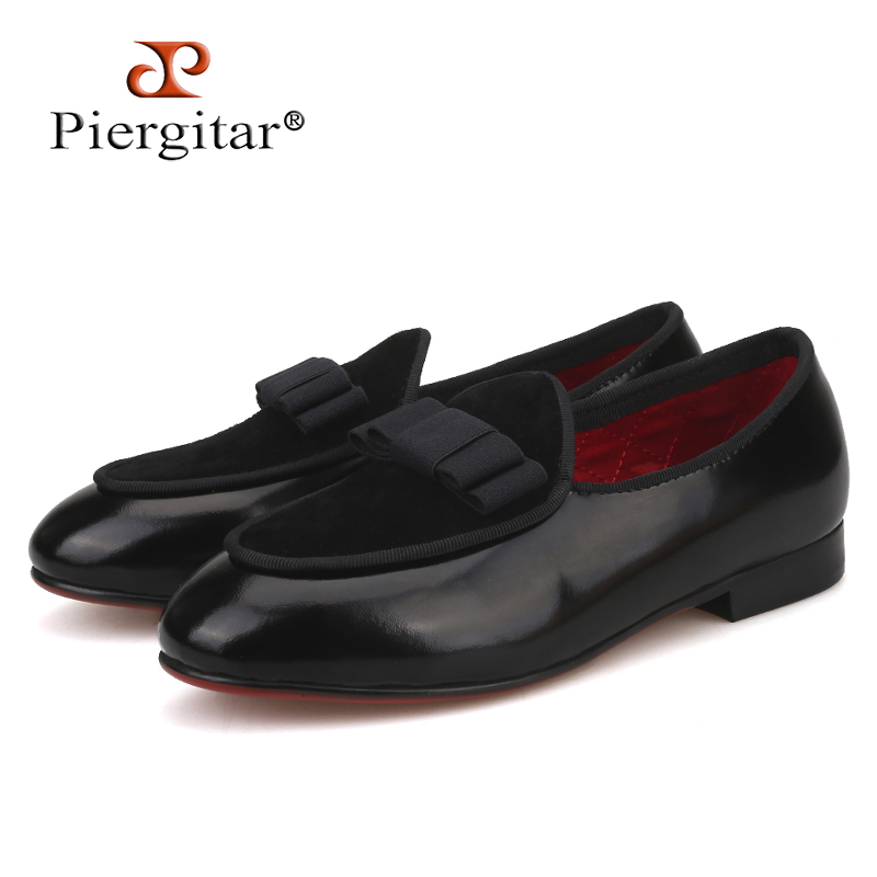Piergitar 2019 New Parent-child style handmade childrens leather loafers Party and wedding kid bow-tie shoes red bottomPiergitar 2019 New Parent-child style handmade childrens leather loafers Party and wedding kid bow-tie shoes red bottom