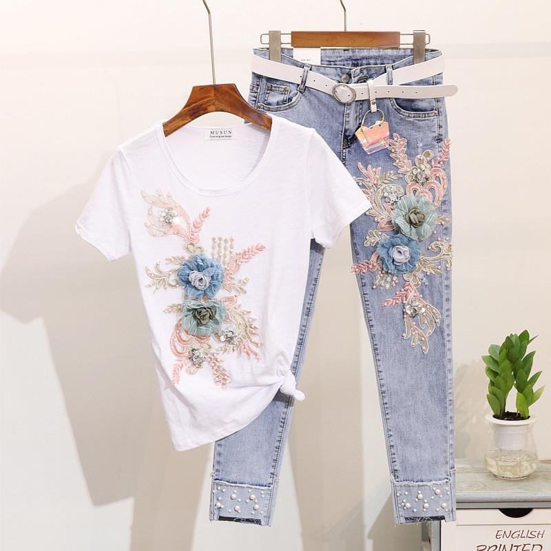 Spring Summer Fashion Women Set Beading Embroidery Flower Short Sleeve T shirt Holes Denim Pants Female