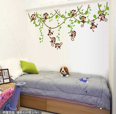 cute mini monkeys vinyl wall stickers decals children animals plants wallpaper mural girls boys kids home bedroom nursery decor