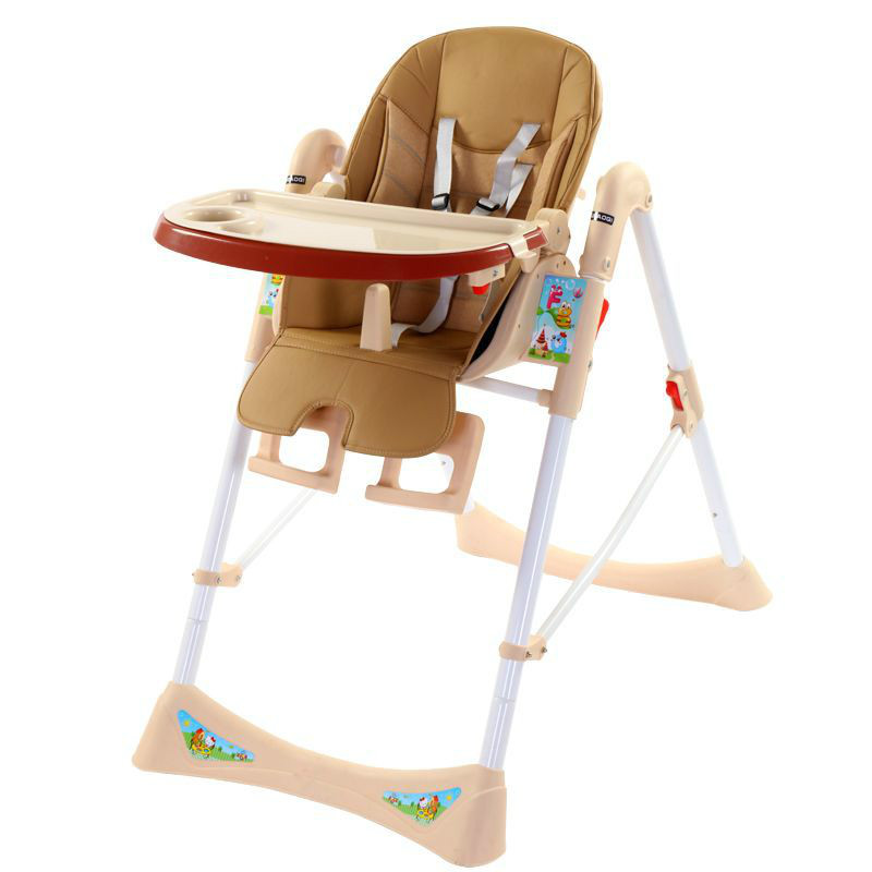Three-point Seat Belts Portable Folding Adjustable Baby High Chair Child Feeding Chair With children Plate Highchair For 0-4T BB цена