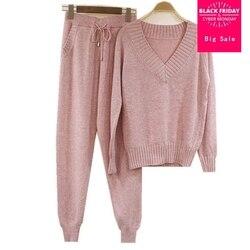 2019 invierno de lana y cachemira traje de punto cálido cuello en V suéter de terciopelo + Pantalones de Cachemira de visón ocio de dos piezas wj1359