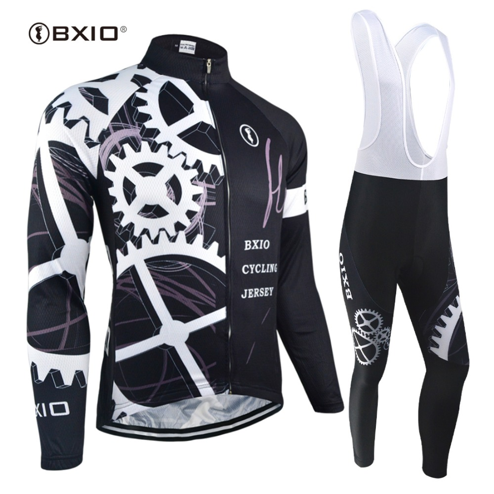 BXIO 2017 Long Sleeve Cycling Jersey Sets Winter Mens Pro Tour Racing Bicycle Clothing Uniformes De Ciclismo Para Hombre 080 bxio winter thermal fleece cycling jersey sets pro team long sleeve bicycle bike clothing cycling pantalones ropa ciclismo 111