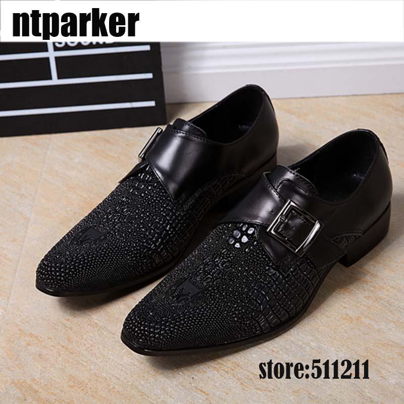 ntparker-Formal Business Leather Shoes Men Black Dress Shoes Buckle Decoration Designer