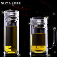 Double High Grade Crystal Glass Transparent Portable Filter Tea Custom Printing A Thick Water Glass On